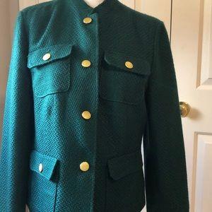Chicos green tweed blazer size 1